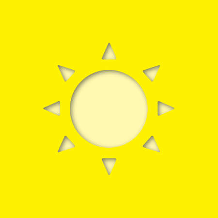 Sun paper cut out icon. Sunlight. Vector silhouette isolated illustration