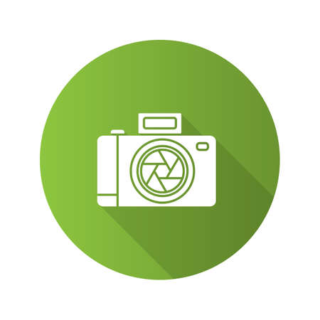 Professional photo camera flat design long shadow glyph icon. Vector silhouette illustration