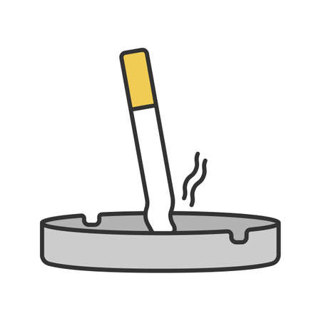 Ashtray with stubbed out cigarette color icon. Stop smoking. Isolated vector illustration