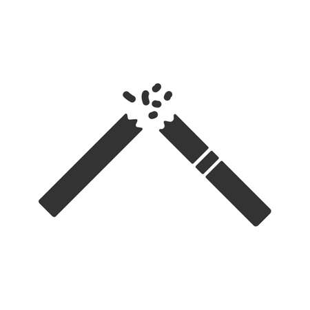 Broken cigarette glyph icon. Stopping smoking. Silhouette symbol. Negative space. Vector isolated illustration
