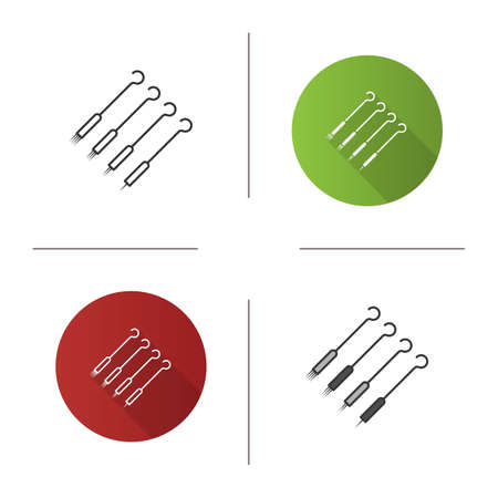 Tattoo needles pack icon. Magnum, round shader and liner needles. Flat design, linear and color styles. Isolated vector illustrations