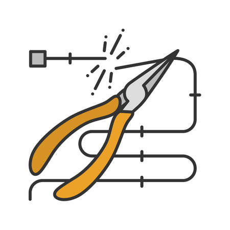 Pointed pliers cutting wire color icon. Needle nose pliers. Isolated vector illustration