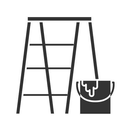 Scaffolding ladder with paint bucket glyph icon. Painting, dyeing. Silhouette symbol. Negative space. Vector isolated illustration