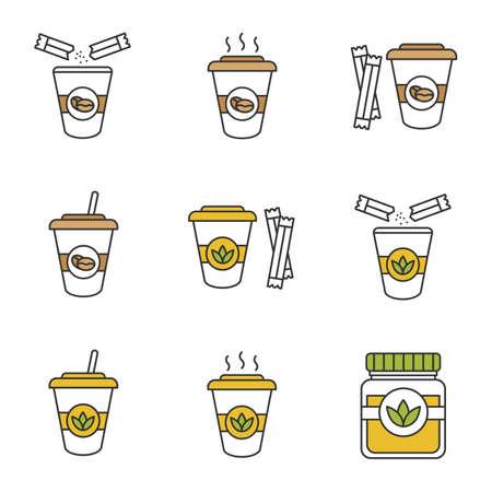 Caffè e tè bevande con set di icone di colore dello zucchero. Erbe e cocktail disintossicanti. Illustrazioni vettoriali isolati