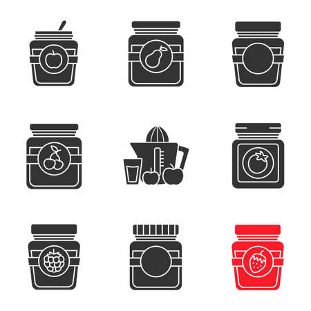 Homemade preserves glyph icons set. Apple, pear, cherry, raspberry, strawberry jam jars, ketchup, juice. Silhouette symbols. Vector isolated illustration
