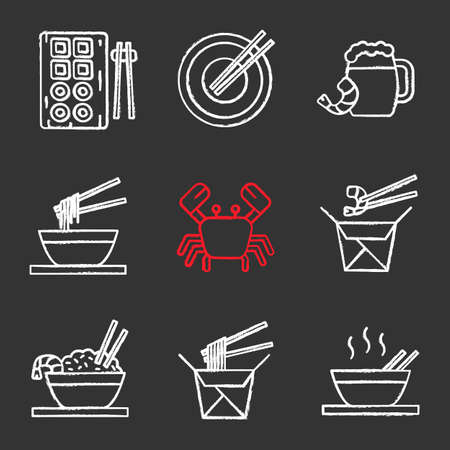 Chinese food chalk icons set. Sushi, noodles, ramen, fried rice with seafood chopsticks, beer, crab. Isolated vector chalkboard illustrations