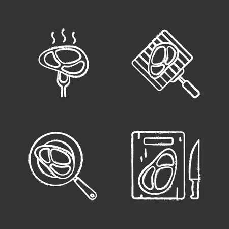 Meat preparation chalk icons set. Grilling, frying and cutting meat steaks. Isolated vector chalkboard illustrations