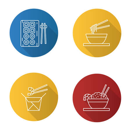 Chinese food flat linear long shadow icons set. Sushi, noodles, ramen, fried rice and chopsticks. Vector outline illustration Vettoriali