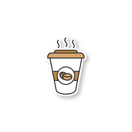 Coffee to go patch. Disposable coffee cup with lid. Color sticker. Vector isolated illustration