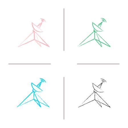 Ensemble d'icônes dessinées à la main par antenne parabolique. Antenne parabolique. Coup de pinceau de couleur. Illustrations sommaires vectorielles isolées