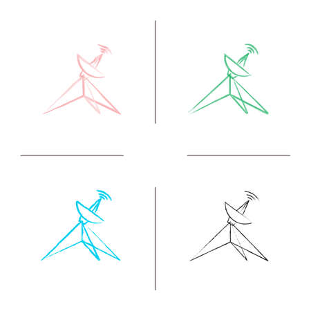 Satellite dish hand drawn icons set. Parabolic antenna. Color brush stroke. Isolated vector sketchy illustrations