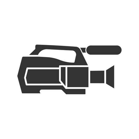 Video camera glyph icon. Videotaping. Silhouette symbol. Negative space. Vector isolated illustration