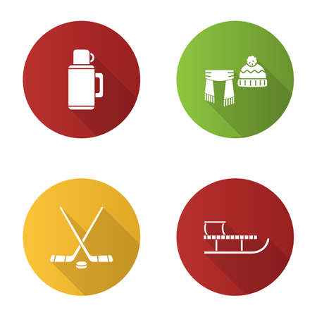 Winter activities flat design long shadow glyph icons set. Thermos, scarf and hat, ice hockey sticks and puck, sled. Vector silhouette illustration Vectores