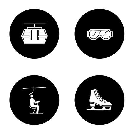 Winter activities glyph icons set. Funicular, ski goggles, chairlift, ice skate. Vector white silhouettes illustrations in black circles