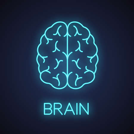 Human brain neon light icon. Nervous system organ. Glowing sign. Vector isolated illustration