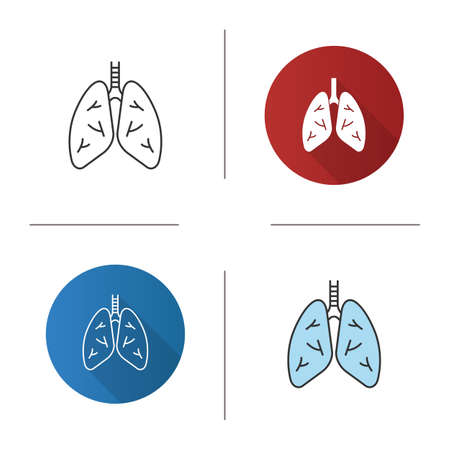 Human lungs icon. Respiratory system anatomy. Flat design, linear and color styles. Isolated vector illustrations