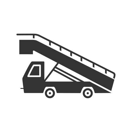 Stair truck glyph icon. Airstair. Passenger gangway. Silhouette symbol. Negative space. Vector isolated illustration