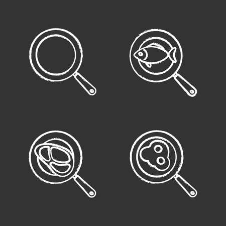 Frying pans chalk icons set. Fried fish, eggs and meat steak. Isolated vector chalkboard illustrations