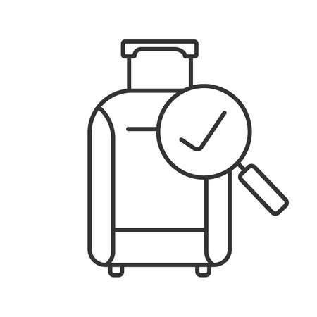 Baggage allowance linear icon. Successful luggage check. Thin line illustration. Suitcase with checkmark. Contour symbol. Vector isolated drawing