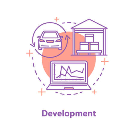 Development concept icon. Product engineering and design idea thin line illustration. Vector isolated outline drawing