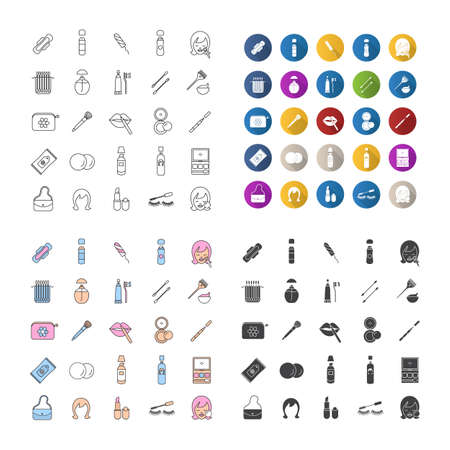 Cosmetics icons set. Toiletries. Makeup. Linear, flat design, color and glyph styles. isolated vector illustrations