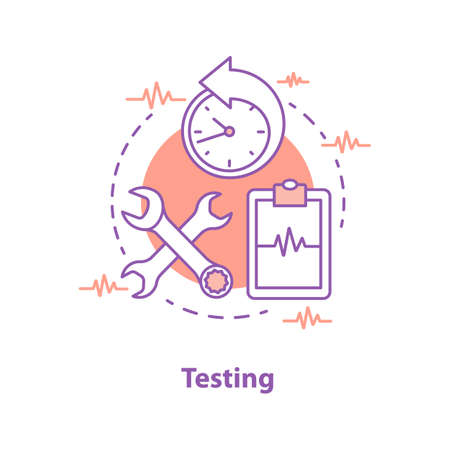 Product testing concept icon. Checking process idea thin line illustration. Vector isolated outline drawing