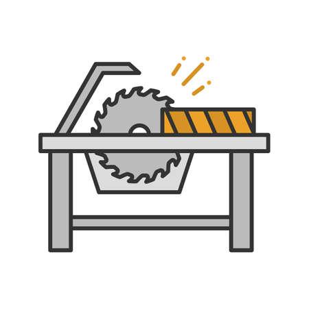Scie circulaire coupe l'icône de couleur de planche de bois. Scie à disque. Illustration vectorielle isolé Vecteurs
