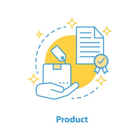 Icono de concepto de lanzamiento de producto. Ilustración de línea fina de idea de proyecto realizado. Dibujo de contorno aislado del vector Ilustración de vector