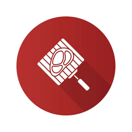 Hand grill with steak flat design long shadow glyph icon. Barbecue grid with beefsteak. Vector silhouette illustration