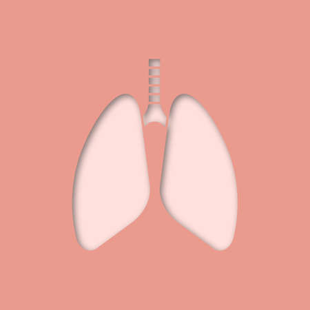 Human lungs paper cut out icon. Respiratory system anatomy. Vector silhouette isolated illustration