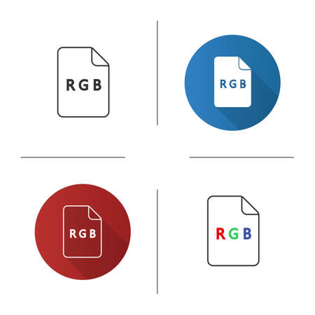 RGB model icon. Flat design, linear and color styles. Red, green, blue color scheme. Isolated vector illustrations