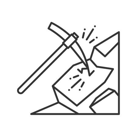 Pickaxe breaking mountain linear icon. Mining. Thin line illustration. Navvy pick. Contour symbol. Vector isolated outline drawing