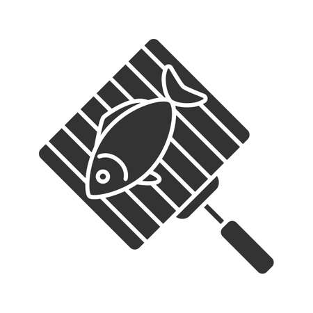 Hand grill with salmon fish glyph icon. Silhouette symbol. Negative space. Vector isolated illustration