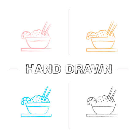 Rice with shrimps hand drawn icons set. Chinese fried rice in bowl and chopsticks. Color brush stroke. Isolated vector sketchy illustrations