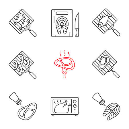 Food preparation linear icons set. Barbecue. Grilling, salting, cutting, fish cooking in microwave oven, meat and sausages. Thin line contour symbols. Isolated vector outline illustrations Illusztráció