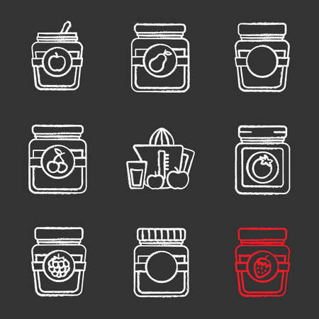 Homemade preserves chalk icons set. , pear, cherry, raspberry, strawberry jam jars, ketchup, juice. Isolated vector chalkboard illustrations