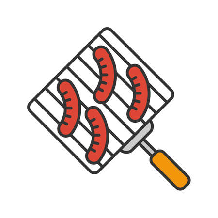 Hand grill with sausages color icon. Barbecue grid. Isolated vector illustration