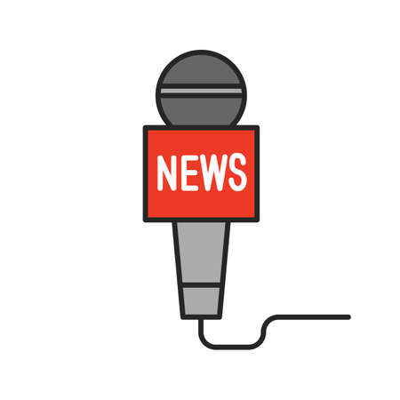 Microphone broadcasting news color icon. Television reporting. Isolated vector illustration
