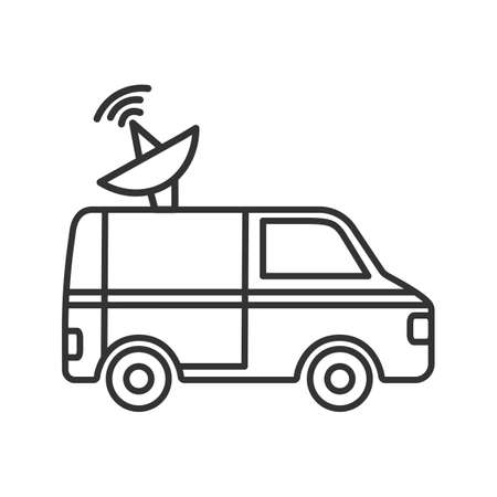 News van linear icon. Thin line illustration. Satellite truck. Remote television broadcasting. Contour symbol. Vector isolated outline drawing