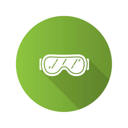 Ski goggles flat design long shadow glyph icon. Snow glasses. Safety eyeglasses. Vector silhouette illustration Vectores