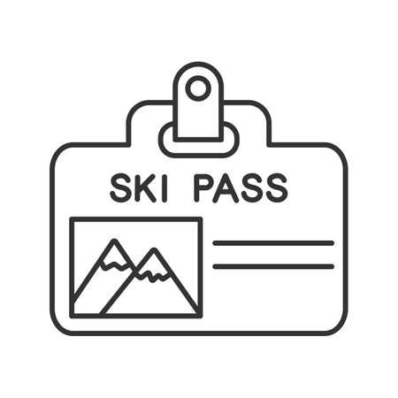 Icono lineal de la insignia de pase de esquí. Ilustración de línea fina. Boleto de elevación. Símbolo de contorno. Dibujo de contorno aislado del vector