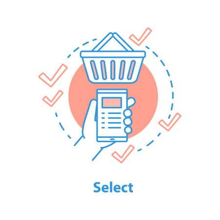 Seleccione el icono del concepto de elementos. Ilustración de línea fina de idea de compras en línea. Añadir al carrito. Dibujo de contorno aislado del vector Ilustración de vector