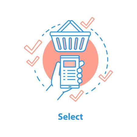 Select items concept icon. Online shopping idea thin line illustration. Add to basket. Vector isolated outline drawing Vector Illustration