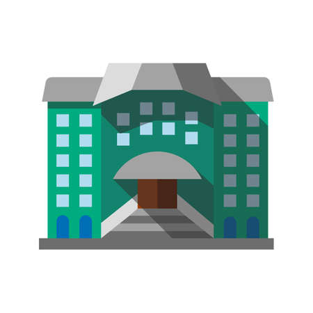Hostel, hotel flat design long shadow color icon. Library, museum. Vector silhouette illustration  イラスト・ベクター素材