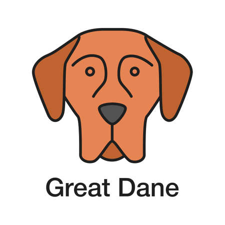 Great Dane color icon. German Mastiff. Guardian dog breed. Isolated vector illustration Vettoriali