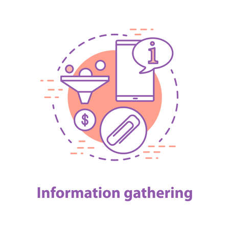 Information gathering concept icon. Data search idea thin line illustration. Market analyzing. Vector isolated outline drawing Vettoriali