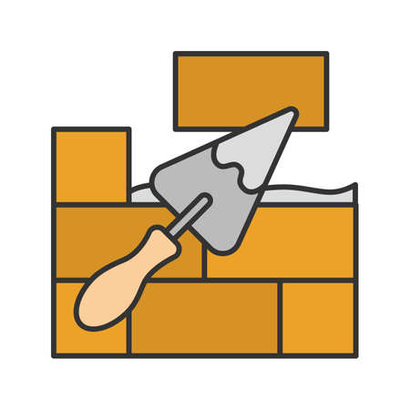 Brick wall with triangular shovel color icon. Putty knife, spatula. Cement solution. Isolated vector illustration