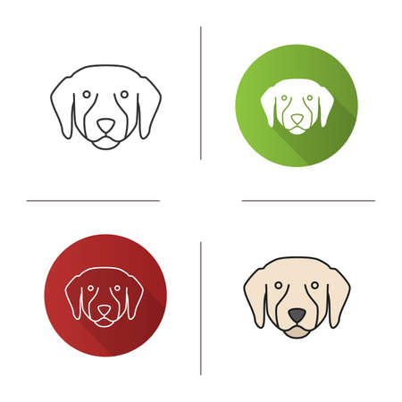 Labrador Retriever icon. Lab. Guide dog breed. Flat design, linear and color styles. Illustration
