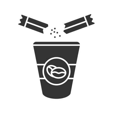 Aggiunta di zucchero all'icona del glifo con caffè. Tazza da caffè usa e getta e bustina di zucchero. Simbolo della sagoma. Spazio negativo.