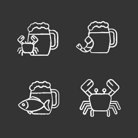 Beer seafood snacks chalk icons set. Ale with fish, shrimp, crab. Isolated vector chalkboard illustrations